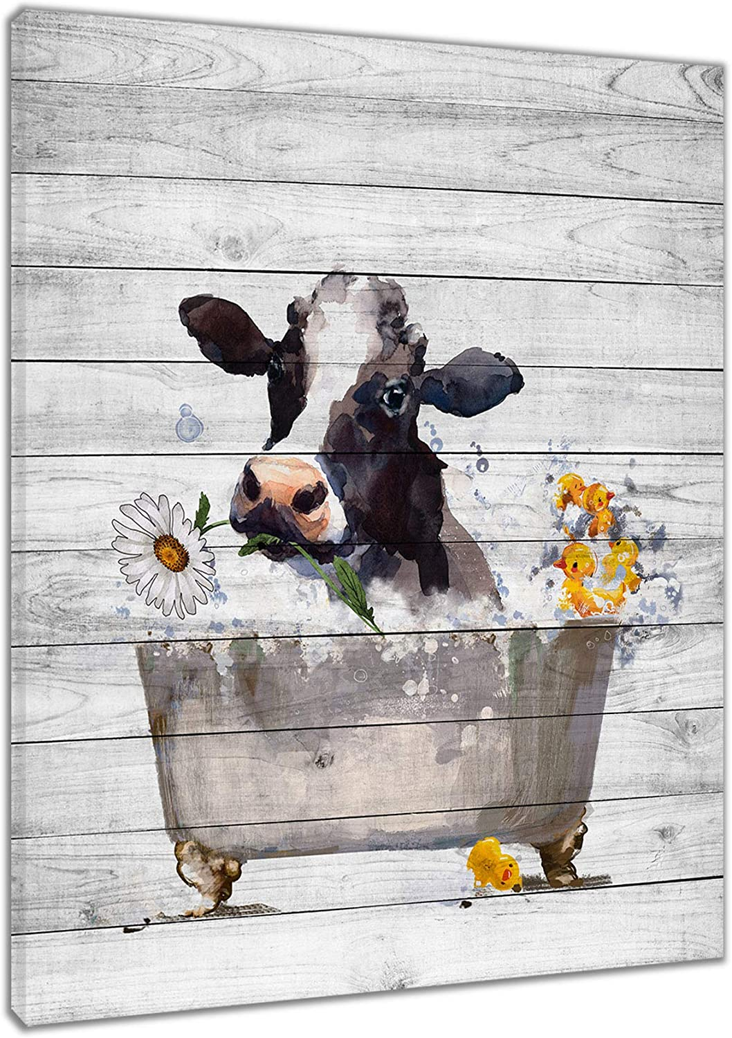 HVEST Funny Cow Wall Art Framed White Watercolor Tucson Mall D Cattle lowest price Animal