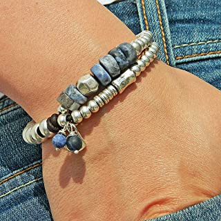 """Bracciale con pietra naturale""""Sodalite"""", con perle di zama e pelle, fatto a mano da Intendenciajewels - Braccialetti in pi..."""