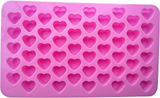Silicone Mini Heart Shape Molds - LeBeila Small Ice Cube Trays Candy Chocolate Mold Reusable Pink Silicon Baking Mould Fun Cubes For Wedding Birthday Party Candies And Lollipop (55-Cavity, Pink)