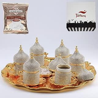 27 PC Traditional Handmade Turkish Arabic Coffee Cup Saucer Swarovski Crystal Set (GOLD)