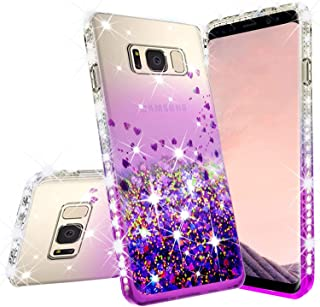 Galaxy S7 Edge Case, Galaxy Wireless Cute Liquid Glitter Phone Case w/Tempered Glass Screen Protector Shock Proof Quicksand Bling Girl Women Cover Compatible for Samsung Galaxy S7 Edge, Purple/Clear