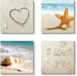 Grander Group Sandy Beach Artwork Coastal Picture - Shell & Sea Star Art Print on Canvas for Wall