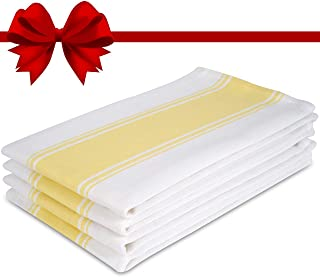 The Homemakers Dish Kitchen Towels Vintage Striped 100% Cotton Tea Towel 20 x 28 inch Set of 4, Yellow