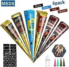 Janolia -Set de Tatuajes, 6pcs Conos de 4 Colores Seguros y Resistentes al Agua, 23pcs de Plantilla Adhesiva, 1 Botella (2 Negro, 2 Marrón, 1 Rojo, 1 Azul)