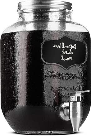 BTäT- Cold Brew Coffee Maker, 1 Gallon Mason Jars Drink Dispenser, Gallon Cold Brew Coffee Maker, Iced Tea Maker, Cold Brew Coffee Carafe, Beverage Dispenser, Glass Dispenser, Cold Brew System