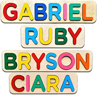 Wooden Personalized Name Puzzle Personalized Engraved Text Greetings on Back Gift for Baby Boy and Baby Girl Handmade Toy