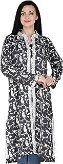 Exotic India Nine-Iron Long Kashmiri Jacket with Ari Embroidered Paisleys - Gray