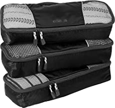 eBags Slim Classic Packing Cubes for Travel - Organizers - 3pc Set - (Black)