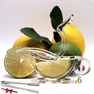 Presse citron individuel Lot de 06+Pince de glaçon sucre multi usages OFFERT Presse agrumes joli emballage art de table va...