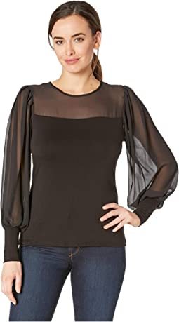 Long Sleeve Chiffon Sleeves/Yoke Mix Media Top