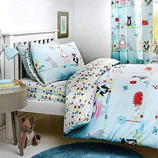 Woodland Floral Badgers Bears Duck Egg Blue Usa Full (200cm X 200cm - Uk Double) Duvet Comforter Cover