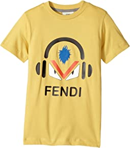 Fendi Kids - Short Sleeve Monster Eyes Headphones Logo T-Shirt (Little Kids)
