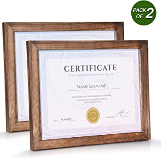 Emfogo 8.5x11 Certificate Frames with Stand Rustic Wood Document Frames with High Definition Glass for Wall or Tabletop Display Set of 2 Carbonized Black