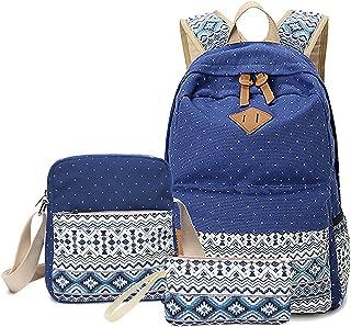 Elonglin 3 PCS School Backpack Travel Bag Unisex School Bag Collection Lightweight Canvas Backpack Casual Daypack + Shoulder Bag + Pencil Case for Teenages Dark Blue