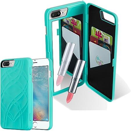 Cadorabo Apple iPhone 8 Plus / 7 Plus / 7S Plus Custodia Hard Cover in Turchese Rigida Cover Protettiva Super Sottile con Motivo, Specchio e 3 Vani di ...