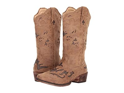 Roper Spade (Tan Faux Leather Vamp) Cowboy Boots