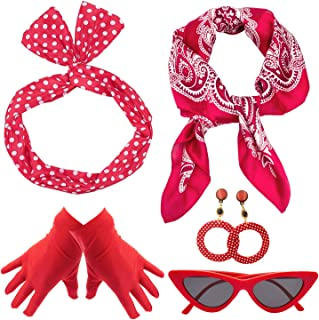 50's Costume Accessories Set for Women Polka Dot Retro Style