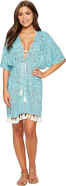 MICHAEL Michael Kors - Twisted Rope Caftan Cover-Up w/ Tassels