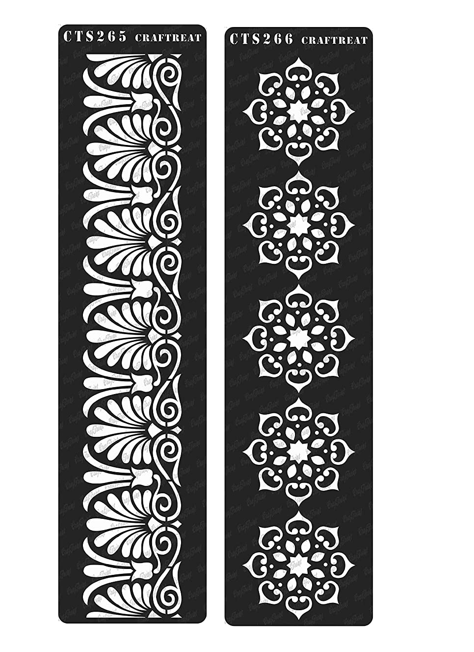 CrafTreat Stencil - Border 9 & 10 (2 pcs) | Reusable Painting Template for Home Decor, Crafting, DIY Albums and Printing on Paper, Floor, Wall, Tile, Fabric, Wood 3