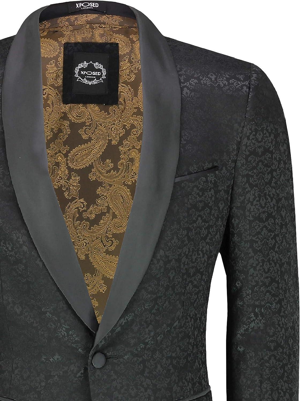 Xposed Classique Jacquard Hommes Tuxedo Blazer Paisley cintr/ée Waistcoat