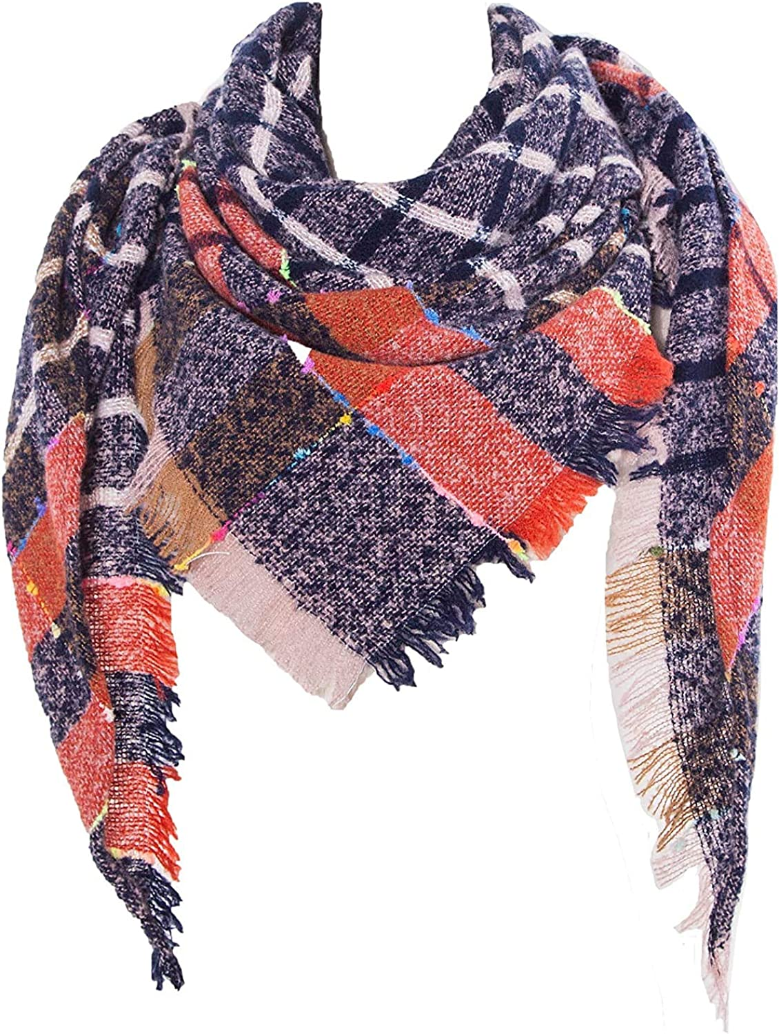 Neck Warmer Women's Scarf Cashmere Scarf MKLP Tassel Scarf Winter Ladies Scarf Large Warm Shawl Plaid Scarf Large Shawl Keep Warm and Prevent Cold Fringed