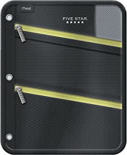 Five Star Pencil Pouch, Pen Case, Fits 3 Ring Binder, Zipper Pouch, Black/Yellow (50642CC8)