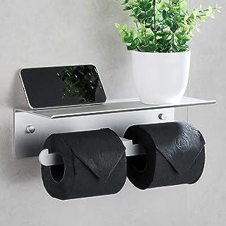DUFU Porte Papier Toilette Mural Aluminium Double Support Hygiénique Rouleau avec Plateforme de Rangement sans Perçage ave...