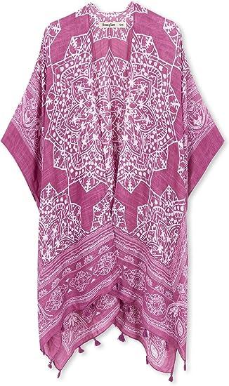 pink pattern cover up beachwear beach wear fashionable cool