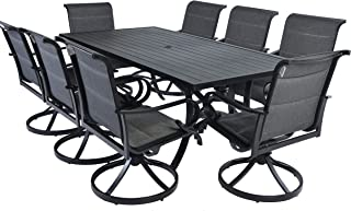 Pebble Lane Living All Weather Rust Proof Outdoor 9 Piece Powder Coated Aluminum Patio Dining Set, 1 Slat Top Dining Table & 8 Swivel Rocking Padded Sling Dining Arm Chairs, Black
