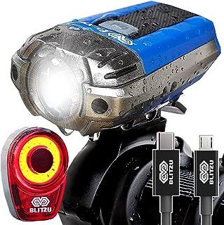 BLITZU Gator 390 USB Rechargeable LED Bike Light Set,...