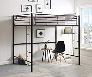 DCraft Berdine Metal Loft Bed, Full Size - Midnight Black