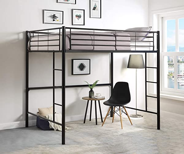 DCraft Berdine Metal Loft Bed Full Size Midnight Black