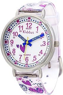 KIDDUS Montre Bracelet Éducative pour Enfants, Fille. Time Teacher Analogique avec Exercices. Mécanisme en Quartz Japonais...