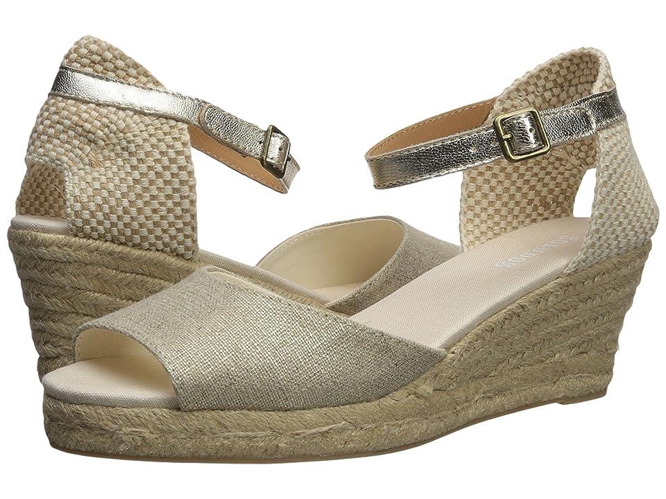 Soludos Open-Toe Midwedge 70mm (Platinum) Women