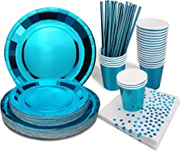Cups Plates Bunting Napkins Blue 7th Birthday Party Decor Tableware Set For 8