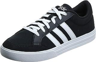 Adidas VS Set Contrast Side Stripe Lace-Up Skateboarding Shoes for Men - Core Black and Ftwr White, 43 1/3