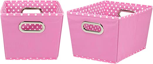 Household Essentials 72-1 Small Tapered Decorative Storage Bins | 2 Pack Set Cubby Baskets Pink and White Mini-Dots