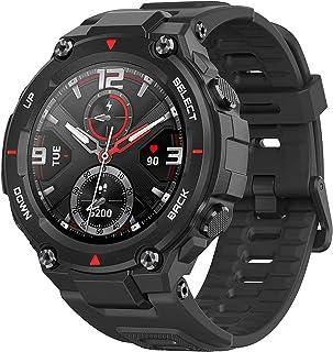 Amazfit T-Rex reloj inteligente con 12 certificaciones militares, 20 días de duración de la batería, cuerpo resistente, pantalla AMOLED de 1,3 pulgadas, 5 ATM resistente al agua, 14 modos deportivos, negro, negro (Rock Black)