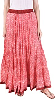 Pink Lemon Red Foliage Printed Cotton Skirt