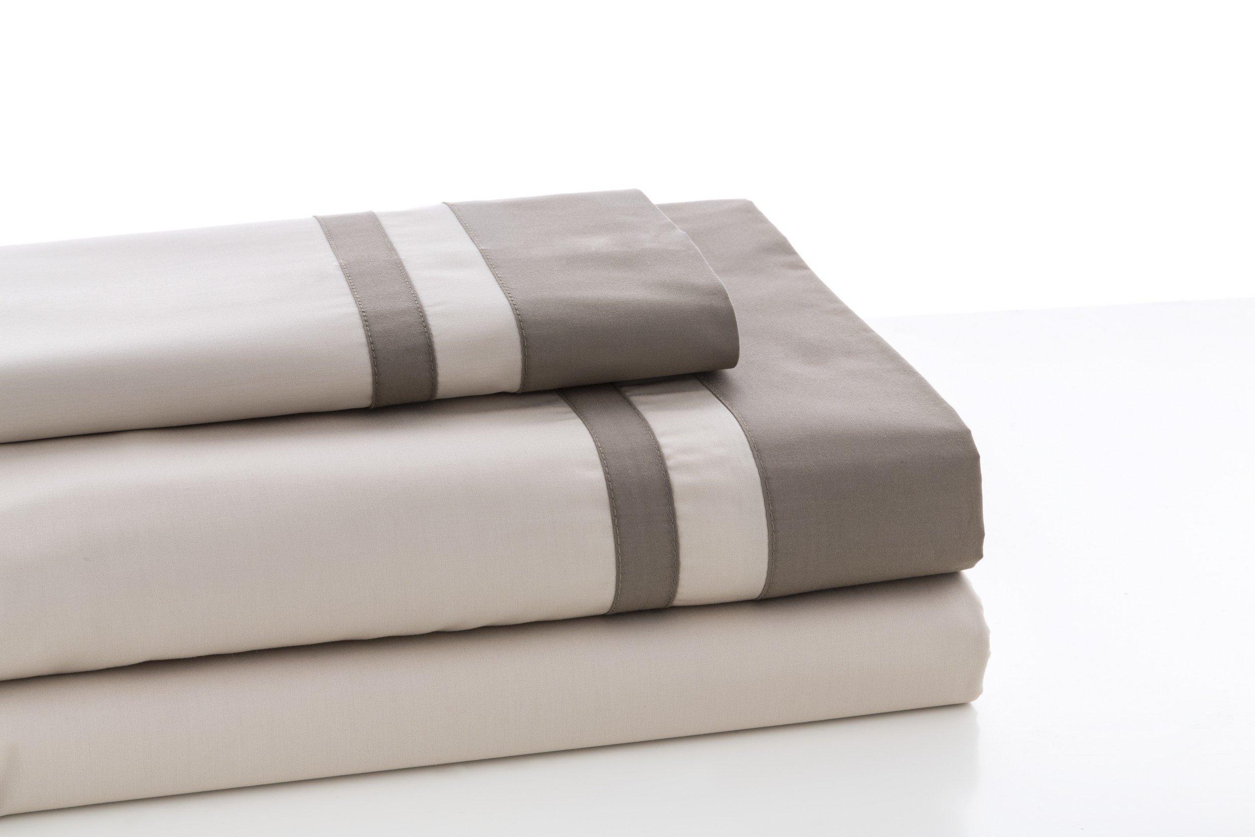 ESTELA - Juego de sábanas Lisos Marbella Color Piedra-Visón - Cama de 105 cm (3 Piezas) - 100% Algodón - 200 Hilos - con Bajera Ajustable de 30 cm. de Altura.: Amazon.es: Hogar