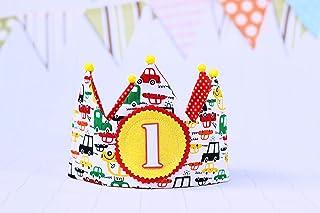 Corona tela primer cumpleaños para niños hecha de tela