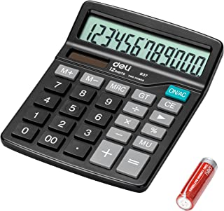 deli Standard Function Desktop Basic deli E837 Calculators with 12 Digit Large Display, Solar Battery Dual Power Office Ca...