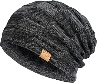 Slouchy Beanie for Men Winter Hats for Guys Cool Beanies Mens Lined Knit Warm Thick..