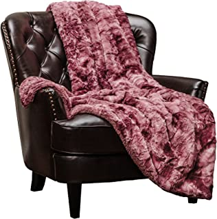Chanasya Faux Fur Throw Blanket | Super Soft Fuzzy Light Weight Luxurious Cozy Warm Fluffy Plush Hypoallergenic Blanket for Bed Couch Chair Fall Winter Spring Living Room (50 x 65) - Darkrose