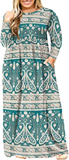 Sponsored Ad - BISHUIGE Womens L-6XL Long Sleeve Casual Plus Size Maxi Dresses with Pockets