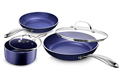 Granite Stone Diamond Granite Stone Classic Blue Pots and Pans Set with Ultra Nonstick Durable Mineral & Diamond Triple Coated Surface, Stainless Steel Stay Cool Handles, 5 Piece Cookware