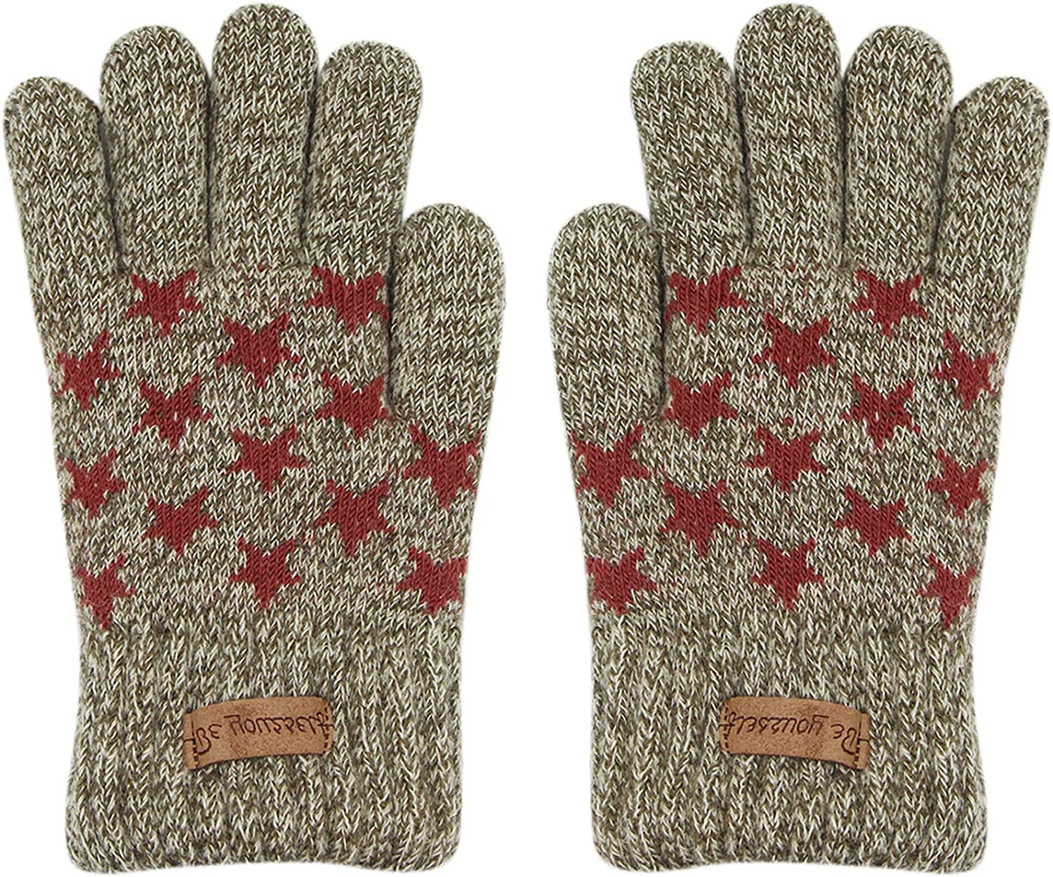 ZGMYC Kids Boys Warm Knit Fleece Lined Cold Weather Gloves Star Pattern Thermal Mittens, 3-6Y