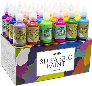 Pintura Textil 3D Nazca – Set 24 Colores (4 Neón UV) x 30ml – Pintura Permanente Perfecta para Pintar con Relieve sobre Te...