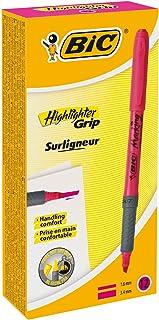 Bic Brite Liner Grip Fluorescent Highlighter, Chisel Tip, Pink, 12 highlighter