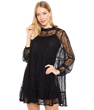 WAYF Monaco Babydoll Lace Dress (Black) Women